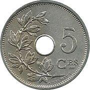 5 centimes - Leopold II - type Michaux en français (petite date) – revers