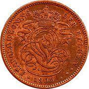 2 centimes - Léopold II  (en néerlandais) – avers