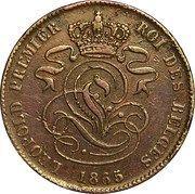 2 centimes - Léopold Ier -  avers