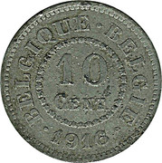 10 centimes - Albert Ier - Occupation -  revers