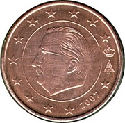 5 cents d'euro Albert II (1er type, 1ère effigie) -  avers