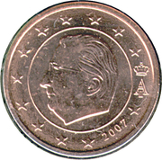 1 cent d'euro Albert II (1er type, 1ère effigie) – avers