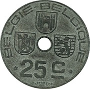 25 centimes - Léopold III - type Jespers (Belgie-Belgique) -  revers