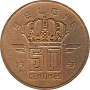 50 centimes - type Mineur (grande tête, en néerlandais) -  revers