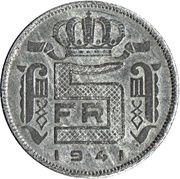 5 francs - Léopold III - type Rau (en néerlandais) -  revers