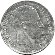 5 francs - Léopold III - type Rau (en français) -  avers
