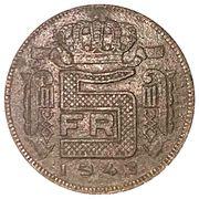 5 francs - Léopold III - type Rau (en français) -  revers