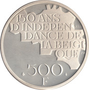 500 francs - 150 ans de l'indépendance de la Belgique - Argent 510‰ (en français) – revers