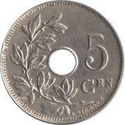 5 centimes - Albert Ier - type Michaux (en néerlandais, sans étoile) -  revers