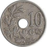 10 centimes - Léopold II - type Michaux (en néerlandais, grande date) -  revers
