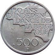 500 francs - 150 ans de l'indépendance de la Belgique (en français) – revers
