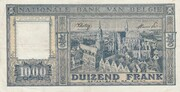1000 francs type Dynastie – revers