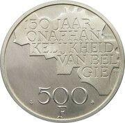 500 francs - 150 ans de l'indépendance de la Belgique - Argent 510‰ (en néerlandais) – revers