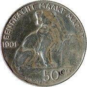 50 centimes - Léopold II - type lion assis (légende en néerlandais) – revers