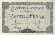 20 francs Société Générale – revers