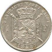 1 franc - Léopold II - type Wiener (en néerlandais) -  revers