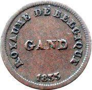 1 centime 1833, Monnaie fictive, Gand -  avers