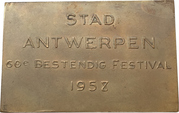 Plaquette - 60th anniversary of the festival of the city of Antwerp – revers