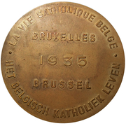 Médailles Belgique Médaille souvenir Expo Bruxelles 1935 Pavillon de la Vie Catholique – revers