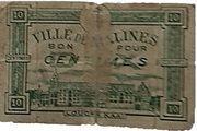 Monnaie de nécessité - bon pour 10 centimes - ville de Malines – avers