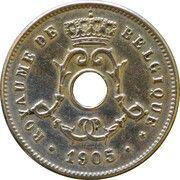 5 centimes - Léopold II - type Michaux (en français, grande date) – avers