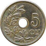 5 centimes - Léopold II - type Michaux (en français, grande date) – revers