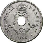5 centimes - Léopold II - type Michaux (en néerlandais, petite date) – avers