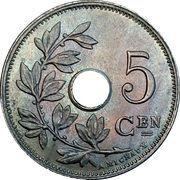 5 centimes - Albert Ier - type Michaux (en néerlandais, sans étoile) – revers
