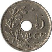 5 centimes - Albert Ier (en néerlandais, avec étoile) -  revers