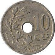 10 centimes - Léopold II - type Michaux (en néerlandais, petite date) -  revers