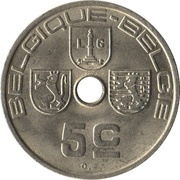5 centimes - Léopold III (Belgique-Belgie) -  revers