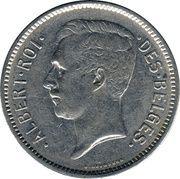 5 francs = 1 belga - Albert I (en français) -  avers