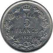5 francs = 1 belga - Albert I (en français) -  revers