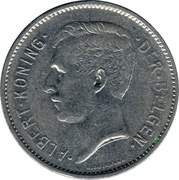 5 francs = 1 belga - Albert I (en néerlandais) -  avers