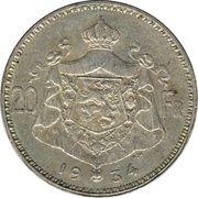 20 francs - Albert Ier (en français) -  revers
