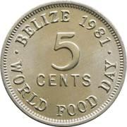5 cents - Elizabeth II (1ère effigie, FAO) – revers