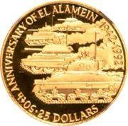 25 Dollars - Elizabeth II (50ème anniversaire de la bataille d'El Alamein) – revers