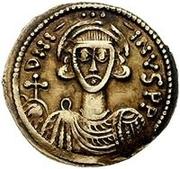 1 solidus Gisolf II / Au nom de Justinien II, 705-711 (monogramme inverté) – avers