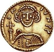 1 solidus Liutprand / Au nom de Justinien II, 705-711 (croix court) – avers