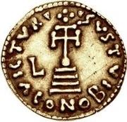 1 solidus Liutprand / Au nom de Justinien II, 705-711 (croix court) – revers