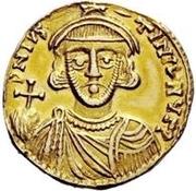 1 solidus Romoald II / Au nom de Justinien II, 705-711 (trois marches) – avers