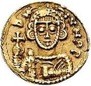 1 tremissis Liutprand & Scauniperge / Au nom de Justinien II, 705-711 – avers