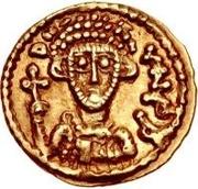 1 tremissis Liutprand / Au nom de Justinien II, 705-711 (monogramme à gauche) – avers