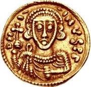 1 tremissis Liutprand / Au nom de Justinien II, 705-711 (monogramme à droite) – avers