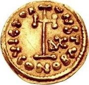 1 tremissis Liutprand / Au nom de Justinien II, 705-711 (monogramme à droite) – revers