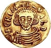 1 tremissis Grimoald III & Charlemagne, Roi des Francs (monogramme à gauche) – avers