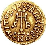 1 tremissis Grimoald III (croix avec cercle près de la base) – revers