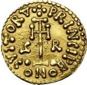 1 tremissis Grimoald III (croix sans cercle près de la base) – revers