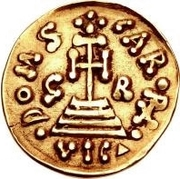 1 solidus Grimoald III & Charlemagne, Roi des Francs – revers