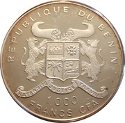 1000 francs CFA (Tyrannosaure) – avers